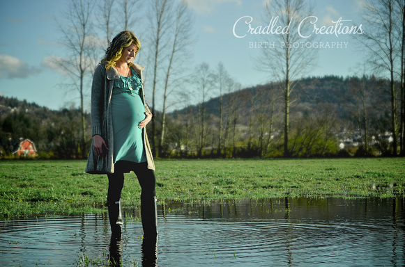 Maternity Photo in Field with Rainboots